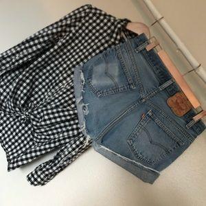 Vintage 501 Levi's cutoffs & flannel